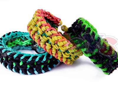 Military Bracelet - Triple Over and Under - Rainbow Loom Tutorial - Needs 2 Looms