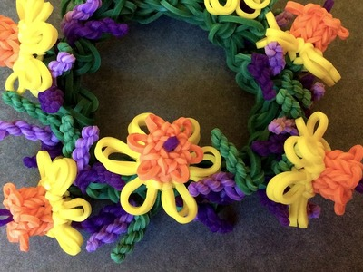 Rainbow Loom™ Lavender Bracelet with Daffodil Charms Tutorial