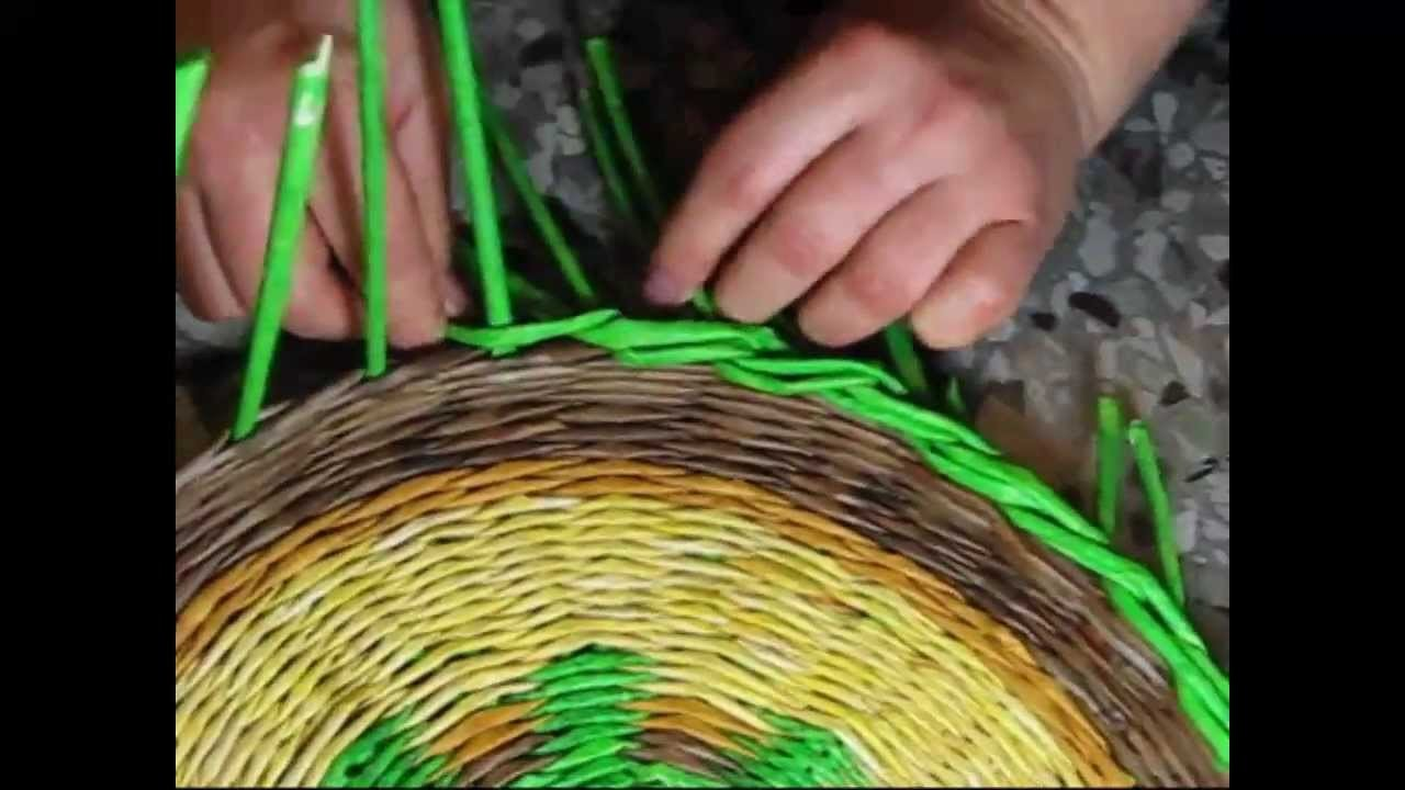 Woven newspaper basket. How to make edging.  Part 2.