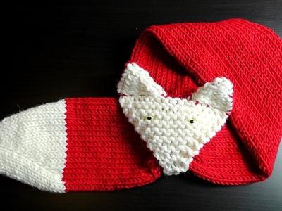 Fox scarf knooking lefty tutorial Schachenmayr Boston Sun