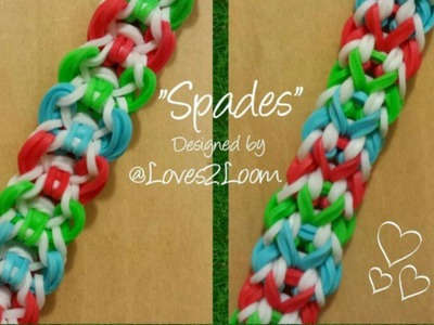 "My New Reversible ""Spades"" Rainbow Loom Bracelet. How To Tutorial"