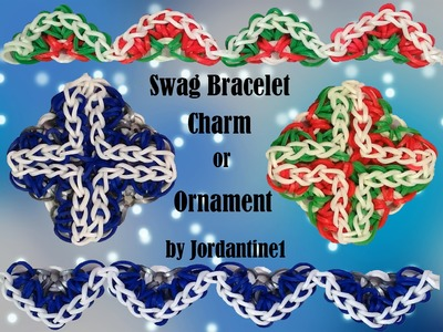 New Swag Bracelet. Charm. Ornament Rainbow Loom or Monster Tail Christmas Cross