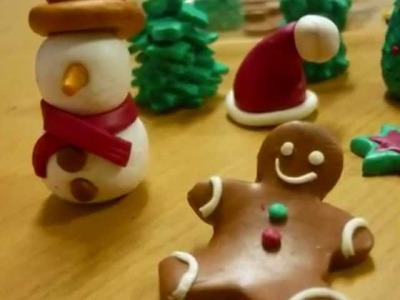 Polymer clay Christmas miniatures from my workshops