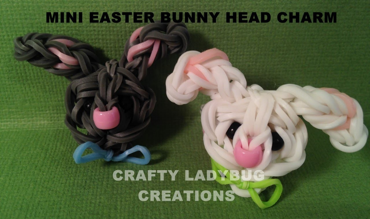 Rainbow Loom Charm MINI EASTER BUNNY HEAD CHARM How to Make by Crafty Ladybug