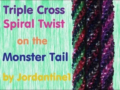 Triple Cross Spiral Twist Bracelet -Monster Tail - Rainbow Loom