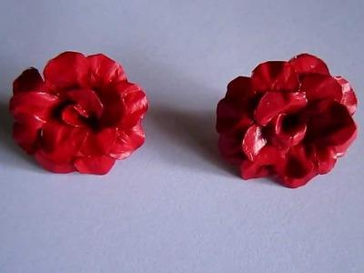 Handmade Jewelry - Paper Rose Earrings (Maroon Red)