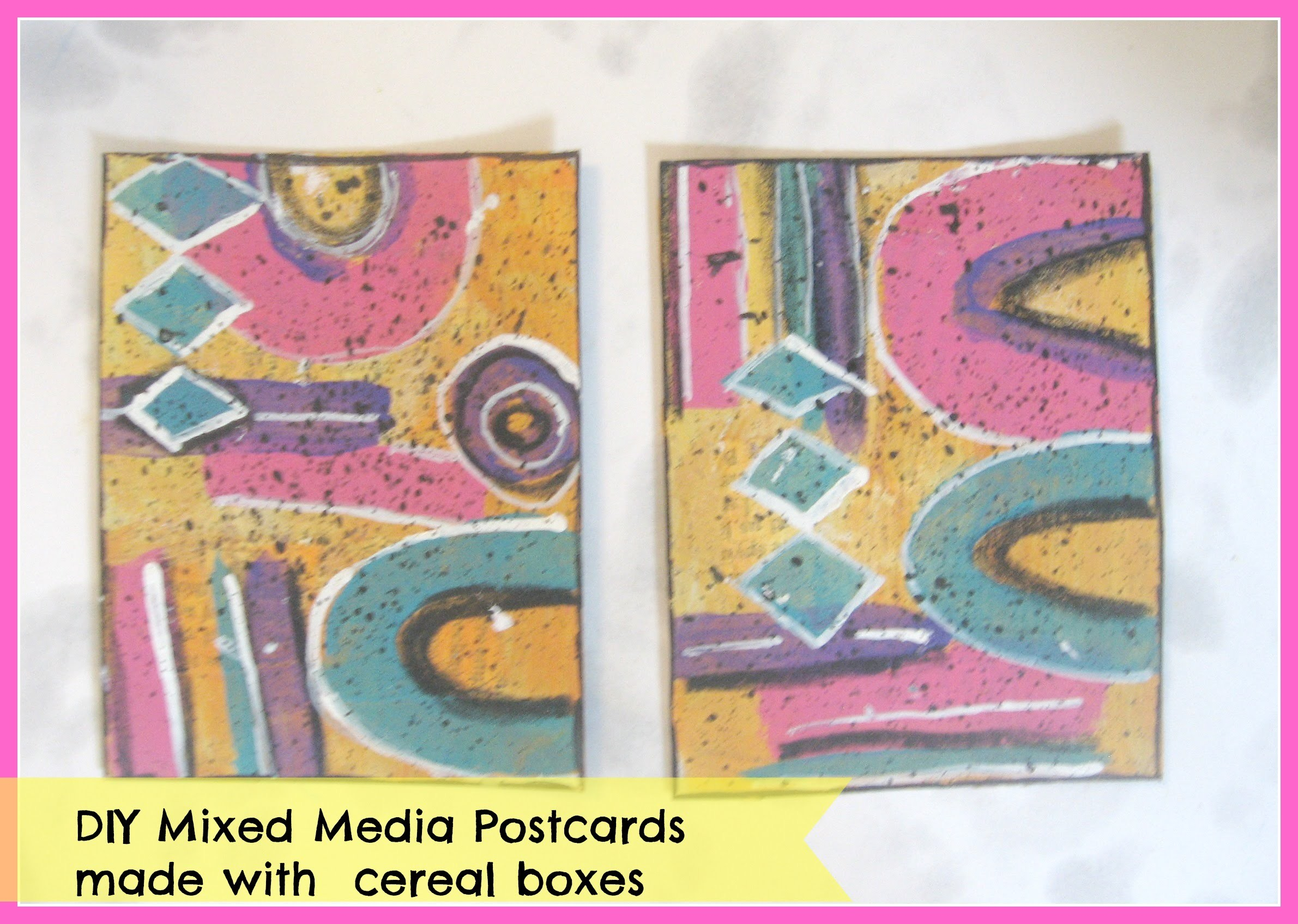 How make  handmade postcards made with cereal boxes. DIY Mixed Media Postcards