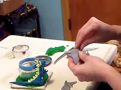 How To Make a Dragon Candle Holder From Polymer Clay- Part 4 The Dragon's Spines and Wings