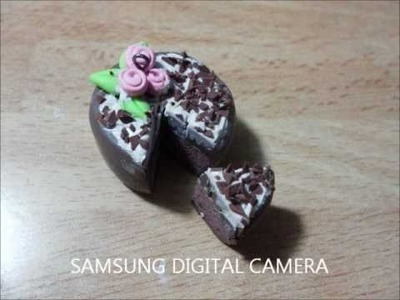 Polymer clay tutorial - Cake with roses and chocolate flakes