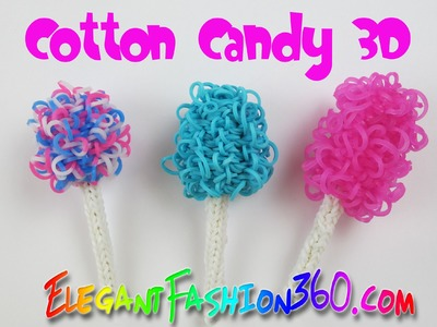 Rainbow Loom Cotton Candy 3D Charm -How to Loom Bands Tutorial