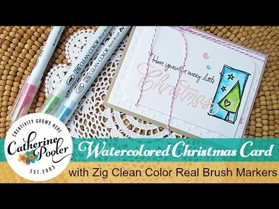 Watercolored Christmas Card with Zig Clean Color Real Brush Markers