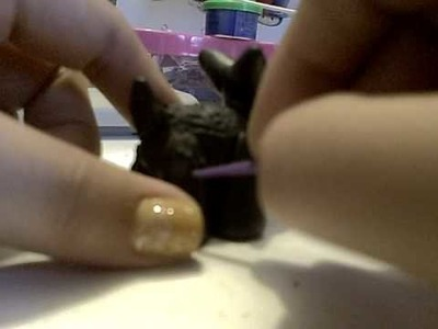 How to make a little black terrier from polymer clay PART 4!!!! for dollhouses or decor