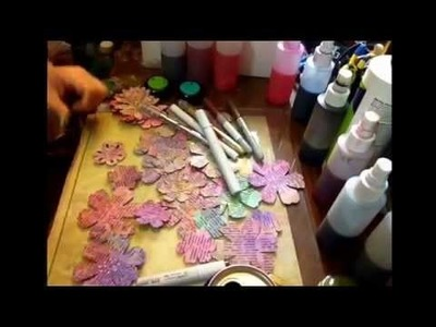 Making coloured book paper flower die cuts:) I'm preparing for a birthday party :)