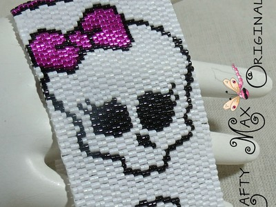 Monster High Pink Skull Beadwoven Bracelet a Krafty Max Original Design