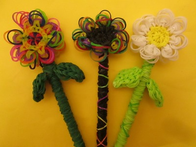 Rainbow Loom Flower Pencil Topper, Hugger and Grip.
