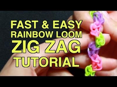 RAINBOW LOOM ZIG ZAG BRACELET - Fast and Easy Tutorial