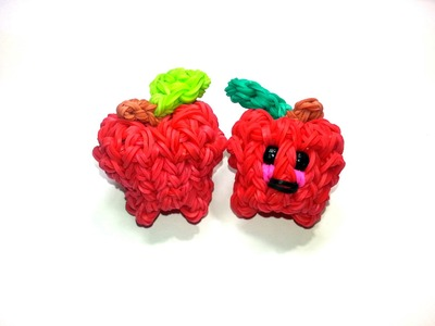 3-D Happy Apple Tutorial by feelinspiffy (Rainbow Loom)