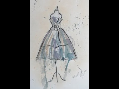 Art Dress hand Drawing with Water Color Tutorial