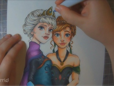 Copic Marker Illustration: Anna and Elsa