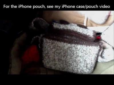 Felted Crochet checkbook purse, coin purse wallet, iPhone case set