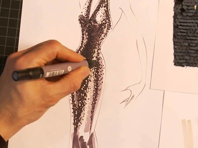 How to hand render sequins on a stunning, floor length evening gown - Preview