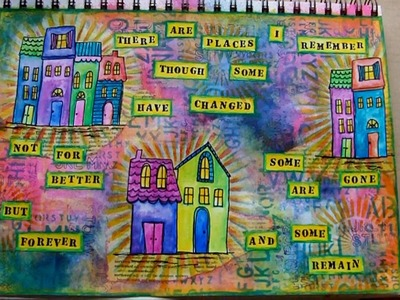 Mixed Media Art Journal Page - Places I Remember