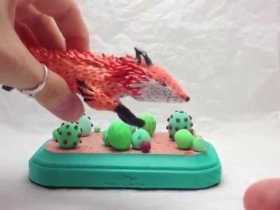 Polymer Clay Fox Sculpture
