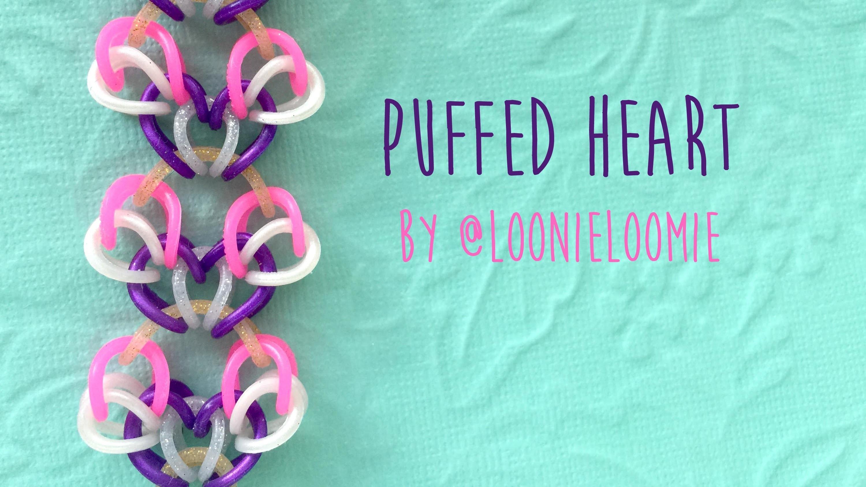 Rainbow Loom Bands Puffed Heart by @LoonieLoomie