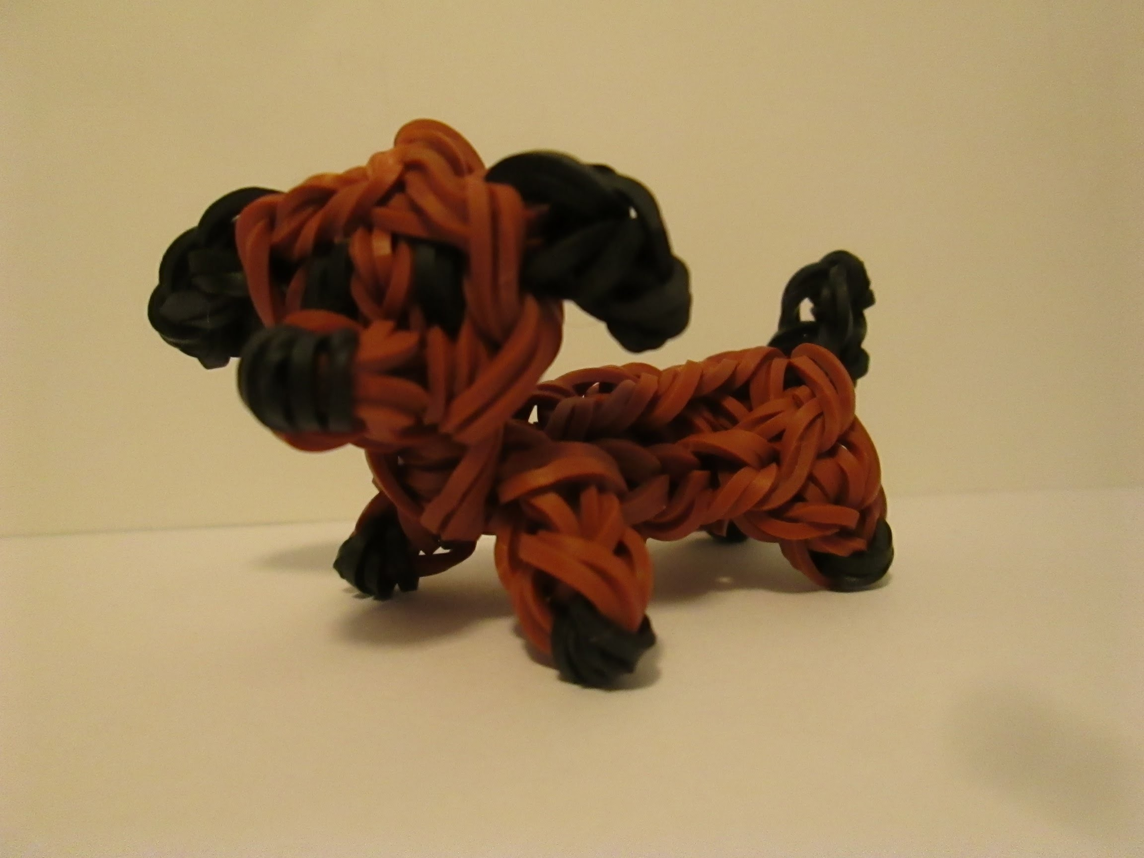 Rainbow Loom Dachsund Dog. Puppy. Figure.