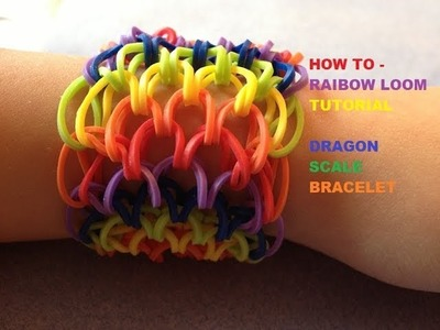 Rainbow Loom : Dragon Scale Cuff Bracelet - How To Tutorial - Part 2