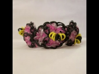 Rainbow Loom- How to Make a (1 Loom) Honey Bracelet (Funfetti Bracelet with Bees)