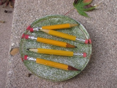 Back to School Pencil Glitter Coaster   Another Coaster Friday