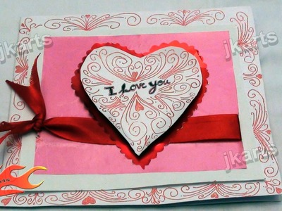 "DIY How to make ""I Love you"" Greeting card  - JK Arts 153"