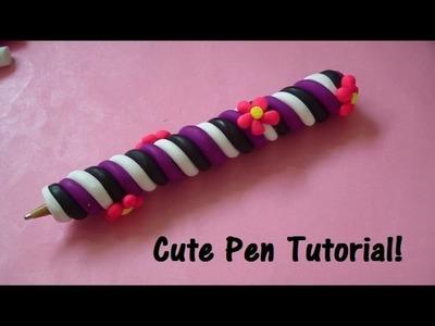 Flowers & Swirls Polymer Clay Pen Tutorial! (Very Easy)