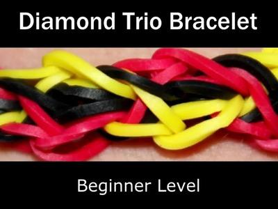 How to make a Rubber Band Diamond Trio Bracelet - Easy Level