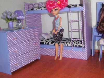 Como fazer cômoda de quarto para boneca Monster High, Barbie, Pullip e etc