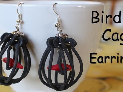 DIY Bird cage earrings Polymer clay tutorial