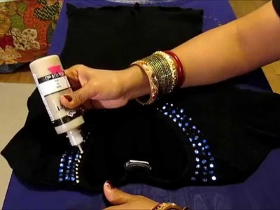 DIY: HOW TO DECORATE SHIRT WITH BLUE SEQUINS.