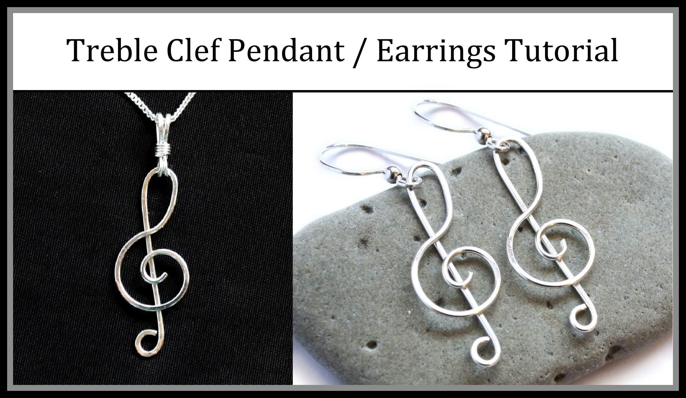Easy Jewelry Tutorial : Wire Wrapped Treble Clef Pendant or Earrings
