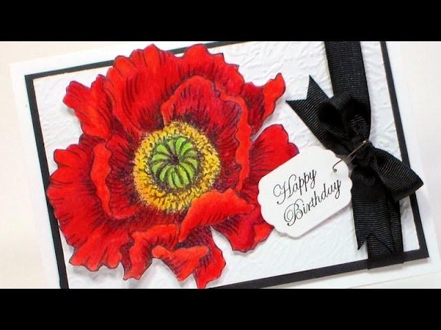 Elegant Poppy Happy Birthday Card