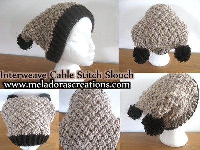 Interweave Cable Celtic Weave Crochet Stitch Slouch Hat - Left Handed Crochet Tutorial