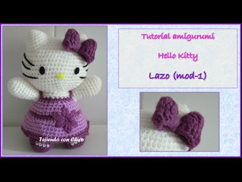 Tutorial amigurumi Hello Kitty - Lazo (mod-1) (English subtitles)