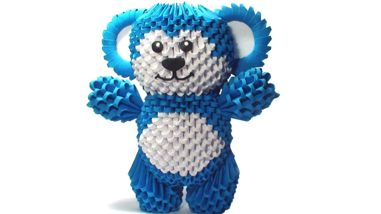 3D origami Bababloo (Blue bear) tutorial