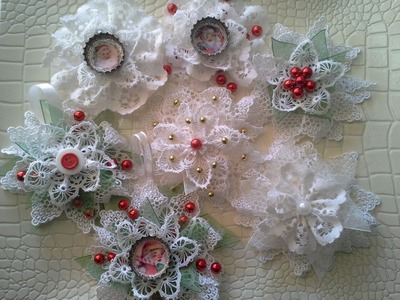 Christmas Decoration with Lace Flowers (tutorial)