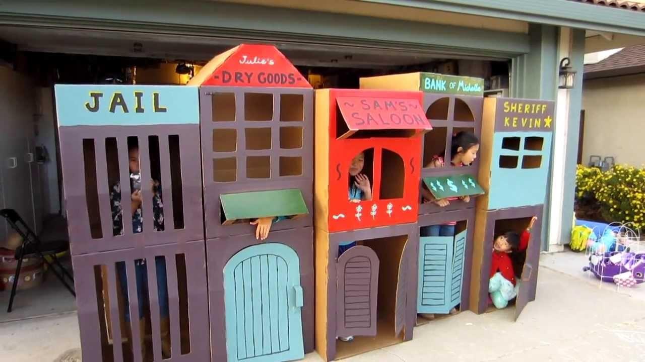 Cool Homemade Kid-Sized Kids Cardboard Town