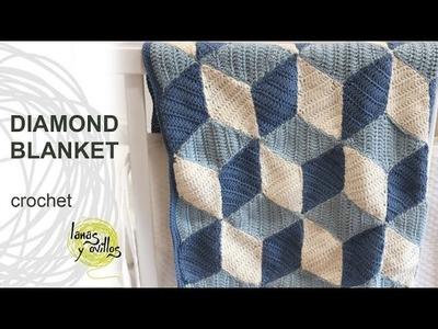 Crochet Diamond Blanket Tutorial in English