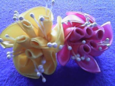 DIY-Cara membuat bunga mawar bergulung dari pita satin- How to make rolled roses of satin ribbons