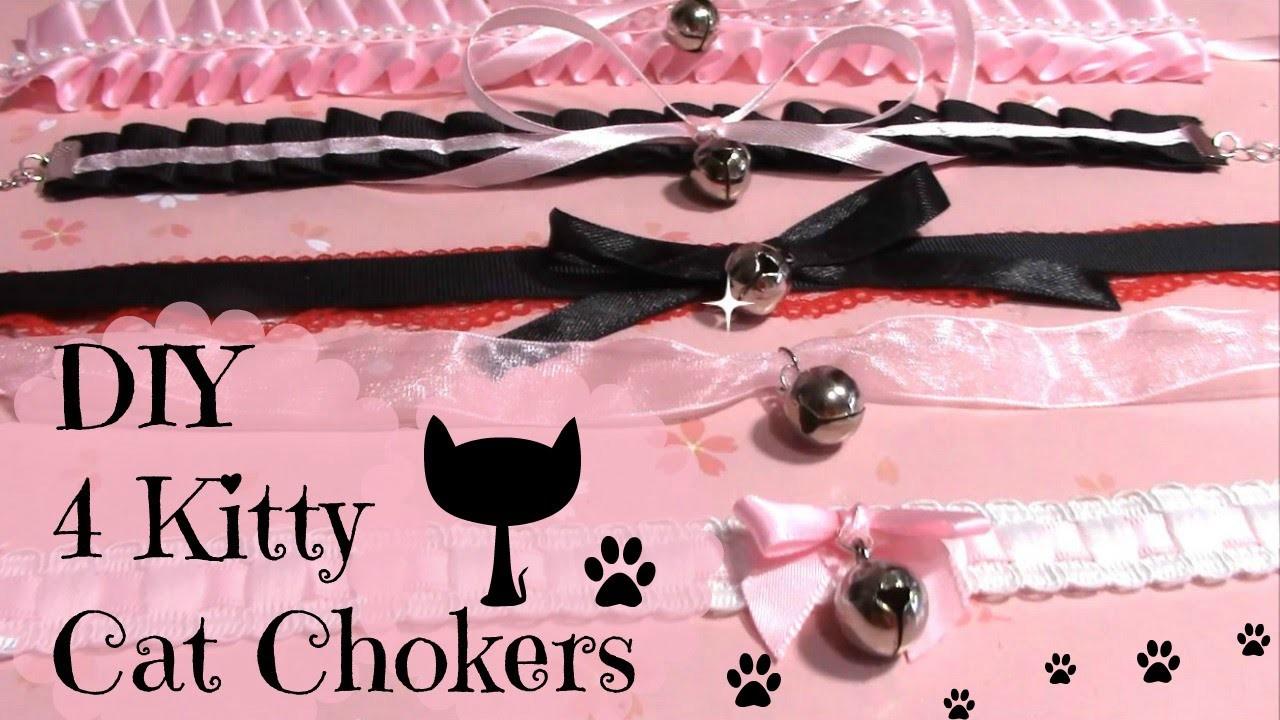 DIY Chokers | 4 Kitty Cat Chokers.Collar | Halloween DIY