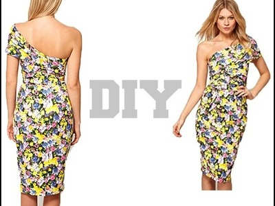 DIY.  One sleeve  Bodycon Dress ( Easy Sewing)