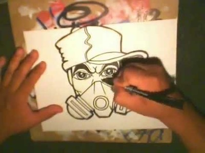 Drawing a Gas mask Character with SprayCans by CHOLOWIZ